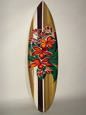"""20"""" Air Brush Hibiscus Hand Carved Wood Sign Wall Art Tropical Patio Tiki Decor"""