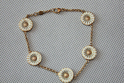 Georg Jensen Gilded Silver  DAISY Bracelet With 5 Double Sided Daisies