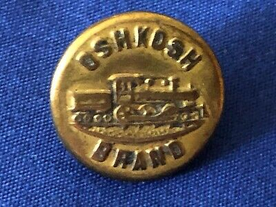 """Vintage Overall Brass Button with Wobble Shank Train on Tracks Right Facing 5//8/"""""""