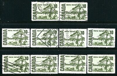 Canada #462(2) 1967 10 cent olive green JACK PINE by THOMSON DF 10 Used CV$2.00
