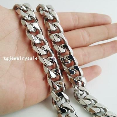 Fashion Men's Silver Tone Stainless Steel Cuban 15mm Curb Chain Necklace 24inch