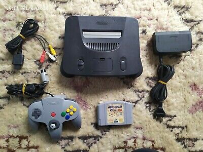 N64 PAL Console Nintendo 64 Launch Edition Charcoal Grey Console  + world cup 98