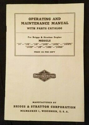 Briggs & Stratton Model 14 Operating Manintenance Parts List 1951 llus Original
