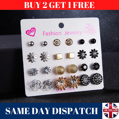 New Set Of 12 Pairs Different Style Ear Studs Earrings Allergy Free Wholesale UK