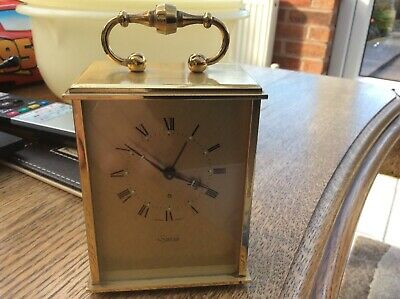 Vintage Swiza 8 Day Carriage Mantle Alarm Clock - Brass Cased, With Key, Working