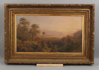 Antique Hudson River School American Southern Tropical Landscape Oil Painting