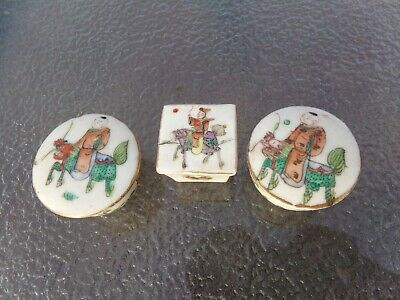 3 Antique Chinese Miniture Porcelain Trinket Boxes Late Qing to Early Republic
