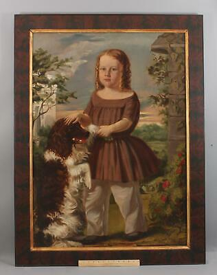 19thC Life Size American Portrait Young Girl Oil Painting Springer Spaniel Dog