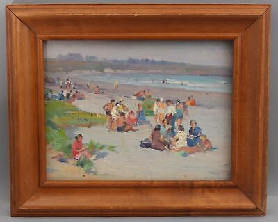 1920s Antique RI Artist MABEL WOODWARD American Impressionist Beach Oil Painting