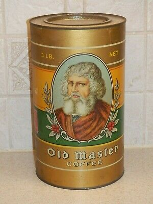 """Vintage Old Master Brand Advertising Coffee Tin 3 Lb Great Graphics 9 1/2""""  #2"""