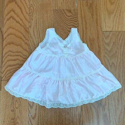 Vintage Her Majesty PINK Nylon Full Slip With Lace Trim  Size T-3