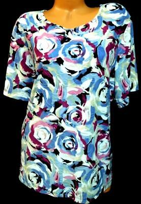 Jm collection blue multicolor abstract roses textured slinky stretch top 3X