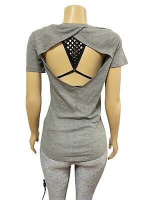 VICTORIAS SECRET PINK Everyday Solid Open Back Tee T-shirt Top Gray