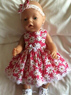 """Doll Clothes to fit 17"""" Baby Born doll ~ Dress & hband  ~ White Daisies On Pink"""