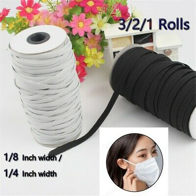 Elastic Bands for Face Mask Width Elastic Cord for Crafts Elastic Rope 3/2/1Roll