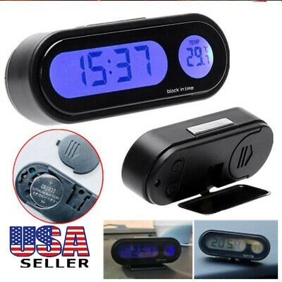 2 In 1 Car Digital Mini Automotive Thermometer Hygrometer Decoration Clock US