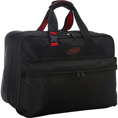 """A. Saks 21"""" Double Expandable Soft Carry-On - Black/Red Travel Duffel NEW"""