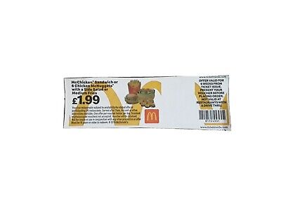 20 x Mcdonalds Meal Tickets - Pay only £1.99 - No Expiry Date