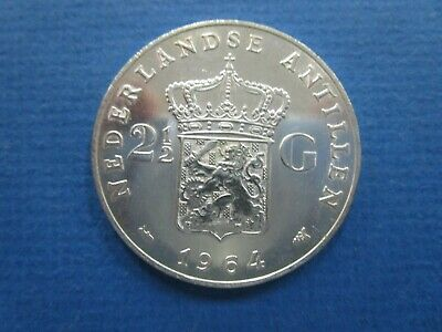 1964 Netherlands Antilles 2-1/2 Gulden KM# 7 Silver Crown Sized Coin a Unc