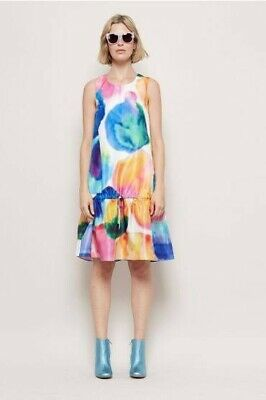 Gorman Abstract Multicolour Paint Watercolour Size 8 Splash Rainbow Dress