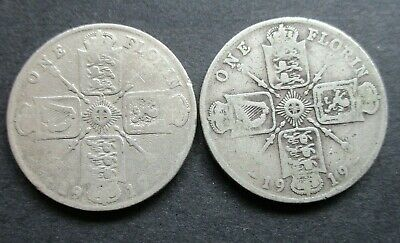 1917, 1919 George V Sterling Silver Florin / Two Shillings Coins