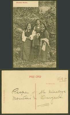 Tibet China Old Postcard Bhootea Women 3 Bhutia Ladies Tibetan National Costumes