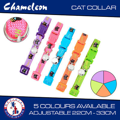 Adjustable Kitten Collar Cat Pet Puppy Colourful reflective polyester + bell