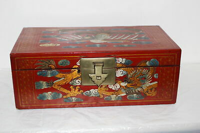 Vintage Chinese Hand Painted Red Lacquer Treasure/Jewelry Box-Dragon & Bird