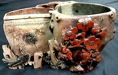 Lovely Antique Chinese Hand Carved Soapstone Brush Pot c1930