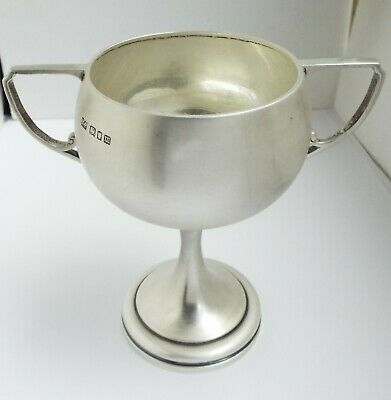 Beautiful Clean English Antique Art Deco 1927 Solid Sterling Silver Trophy Cup