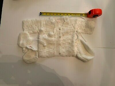 Vintage Gloknit White Sweater Booties and Cap Newborn
