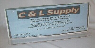 "Store Display Fixtures 3 New Acrylic Counter Top Sign Holders 4"" Tall X 11"" Wide"