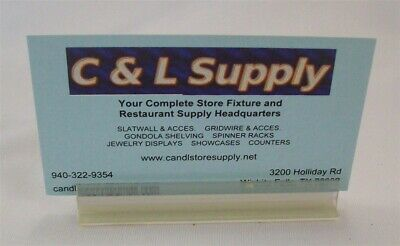 "Store Display Fixtures 9 New Adhesive Acrylic Sign Holders 3"" Long"