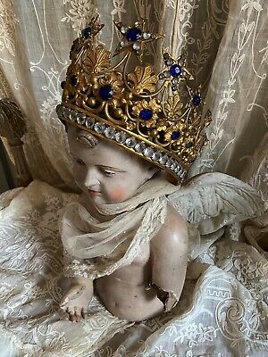French Antique XL Jeweled Santos Crown  Antike Prozessions Krone Madonna