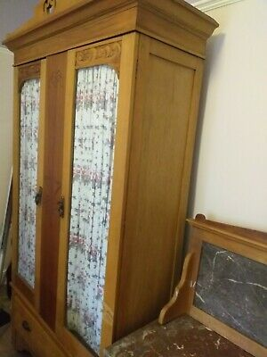Antique Mid Victorian Satinwood double wardrobe with matching washstand