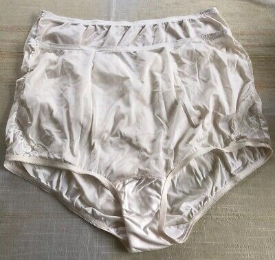 Lot Of 2 VTG Vanity Fair Lace Insets XL 8 Nylon Granny Panties Briefs IvorySissy