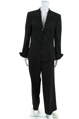 Giorgio Armani Womens Pinstriped Pant Suit Black Ivory Wool Size EUR 46/44