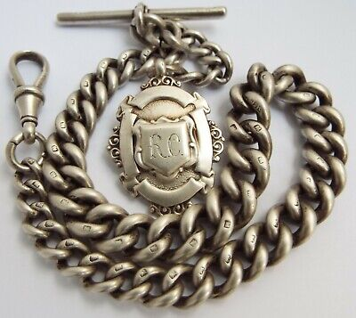 Handsome Chunky Heavy English Antique Victorian 1899 Solid Silver Albert Chain