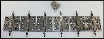 Set of 6 Fancy Antique Vintage Victorian Cast Iron 4x4 Steeple Pin Door Hinges