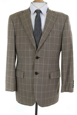 Brooks Brothers Mens Two Button Notched Lapel Blazer Brown Wool Size 40 Short