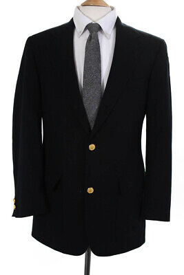 Brooks Brothers Mens Two Button Notched Lapel Blazer Black Wool Size 38
