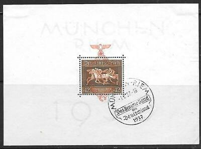 GERMANY - 1937.  Brown Ribbon.  1936 M/Sheet Opt'd,  Used (FD) - Cat £160