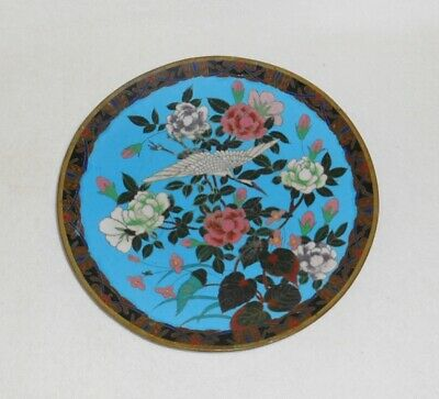 Antique Chinese or Japanese Intricate Cloisonne Plate with Flying Crane Flowers