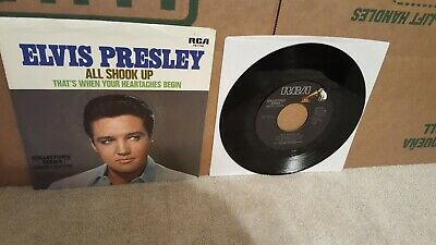 Elvis Presley All Shook Up/That's When Your Heartaches Begin 45 With Pic Sleeve!