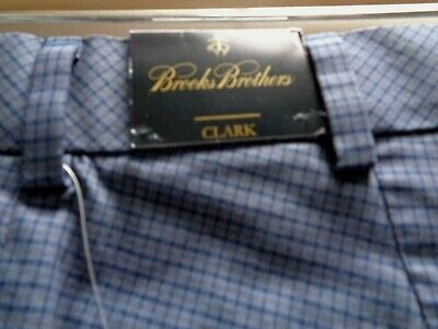 Mens Brooks Brothers Clark Dress Pants 36 x 32 Gray and Navy Spring Summer NWT