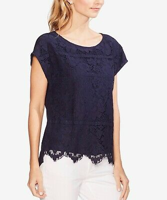 Vince Camuto Womens Navy Floral Lace Cap Sleeves Tee T-Shirt Top Medium Navy