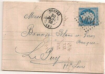 LETTRE COVER LAC;Yv 22 curieux,Aube,TROYES,GC 4034,30/1/1868,frappes superbes,RR