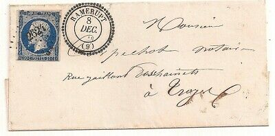 LETTRE COVER,LSC,Yv 14Ab Aube RAMERUPT,8/12/1856,PC 2624,type 22;LUXE,Troyes