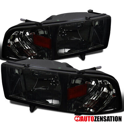 For 1994-2001 Dodge Ram 1500 Smoke Lens Headlights w/ Turn Signal Lamps Pair