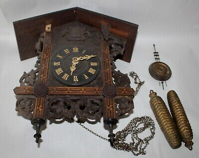 ANTIQUE Clock AMERICAN CUCKOO CLOCK CO Philadelphia NEEDS TLC